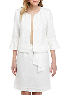Nine West Ruffle Sleeve Burnout Kiss Front Jacket