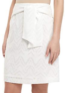 Nine West Burnout Skirt With Self Belt