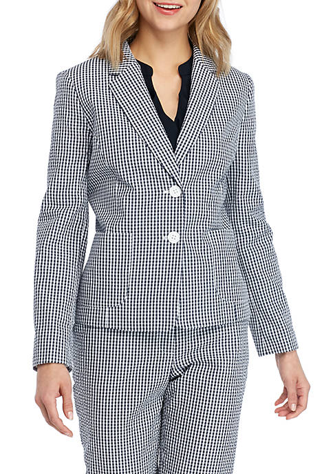 Gingham 2 Button Jacket