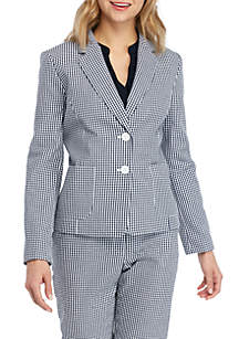 Nine West Gingham 2 Button Jacket