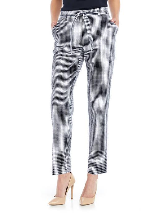 Nine West Gingham Pants With Self Tie Belt