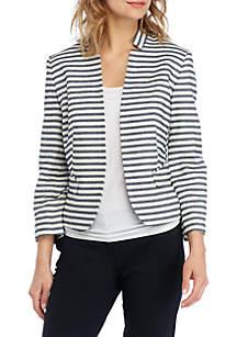 Nine West Striped Kiss Front Jacket
