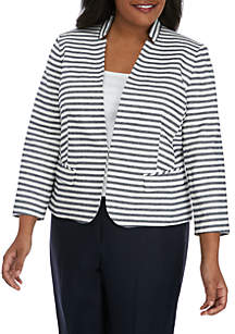 Nine West Plus Size Stripe Kiss Front Jacket
