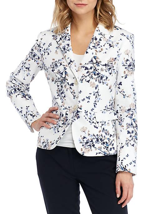 2 Button Printed Linen Jacket