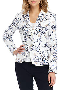 Nine West 2 Button Printed Linen Jacket