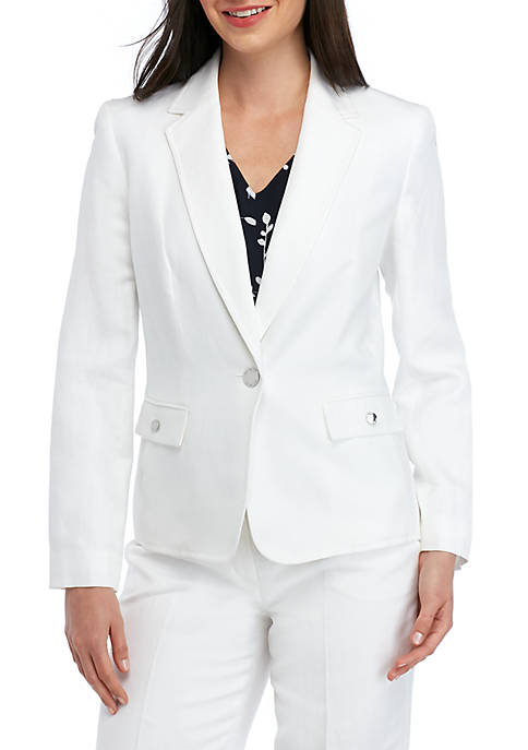 Nine West Linen Notch Collar Jacket