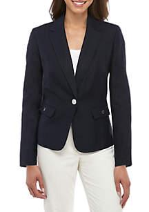c2de5670e52e85 ... Nine West Linen Notch Collar Jacket