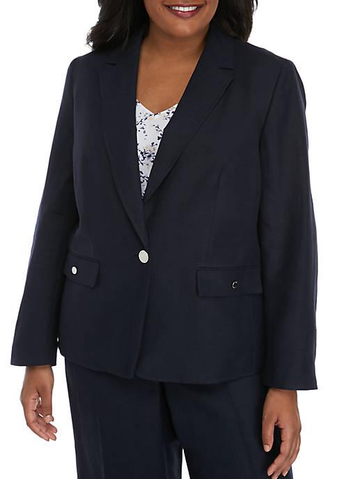 Nine West Plus Size Notch Collar Linen Jacket