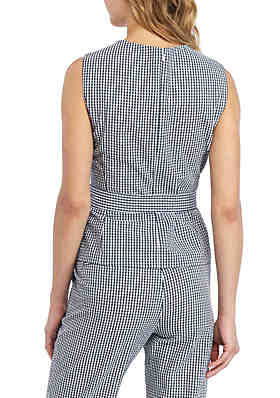 691bddeff6a ... Nine West Sleeveless Gingham Blouse With Self Belt
