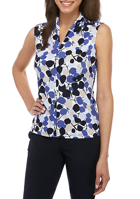 Sleeveless Multi Dot ITY V Neck Top