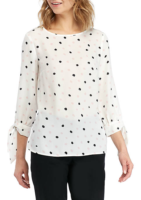 Dotted Blouse with Bow Sleeves
