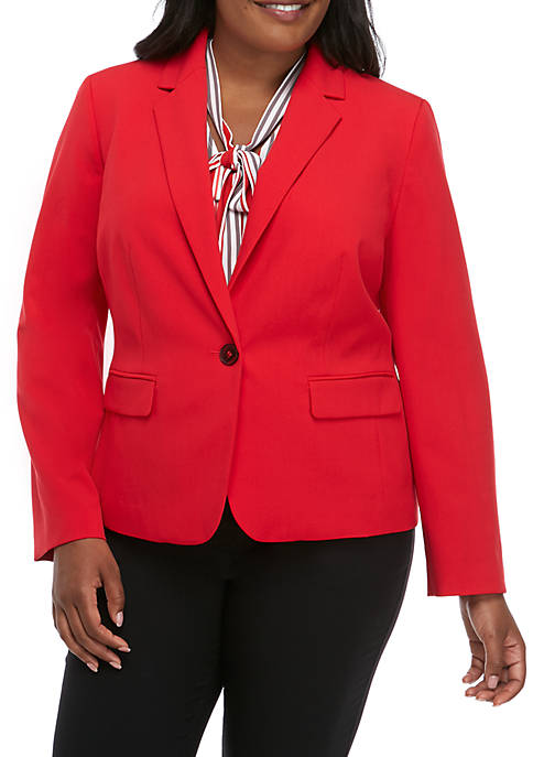 Plus Size One Button Jacket