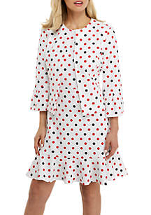 Nine West Bell Sleeve Polka Dot Jacket