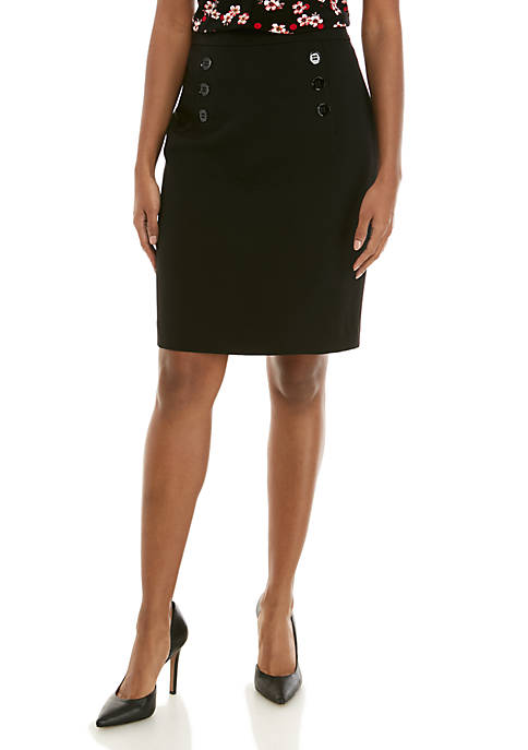 6 Button Crepe Skirt