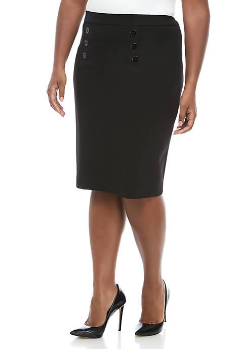 Plus Size 6 Button Crepe Skirt