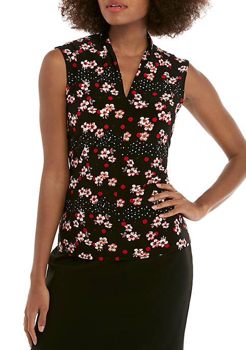 Sleeveless V Neck Mixed Print Blouse