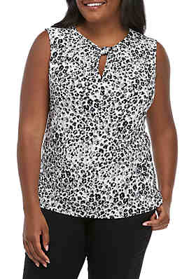 7605d2615f04fe Nine West Plus Size Sleeveless Knot Neck Animal Print Top ...