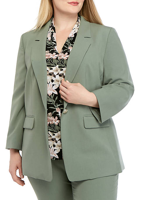 Plus Size 1 Button Stretch Jacket