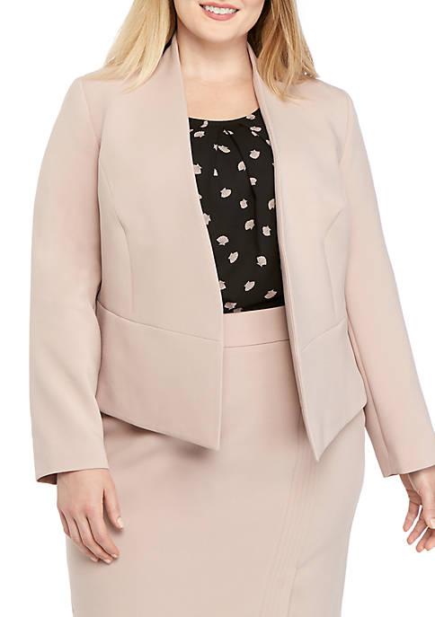 Plus Size Open Front Crepe Jacket