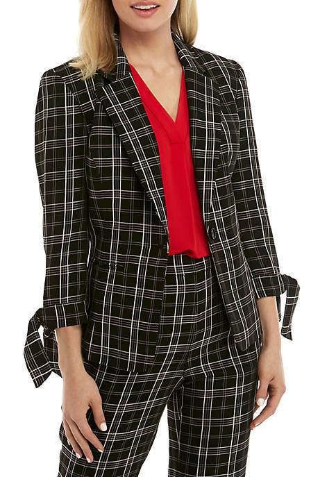 One Button Plaid Jacket with Tie Sleeves