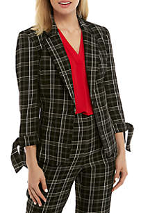 Nine West One Button Plaid Jacket with Tie Sleeves