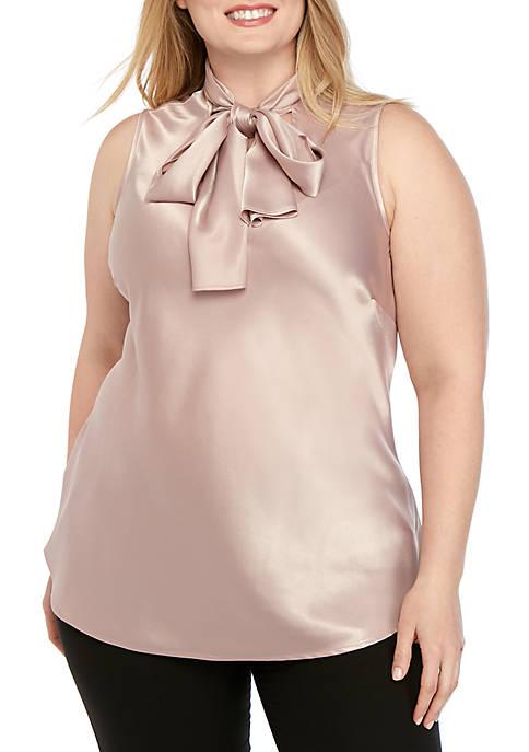 Plus Size Sleeveless Charm Tie Neck Blouse