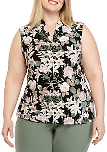 Nine West Plus Size Printed ITY Top