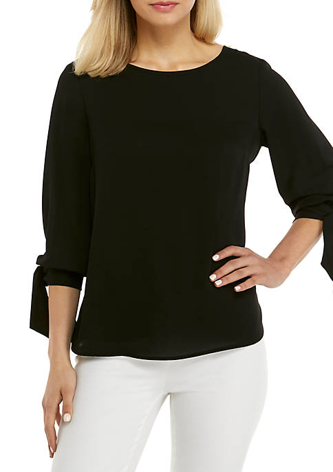 Nine West 3/4 Tie Sleeve Solid Blouse