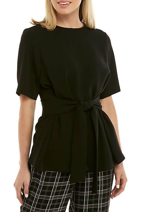 Nine West Short Sleeve Belted Waist Blouse
