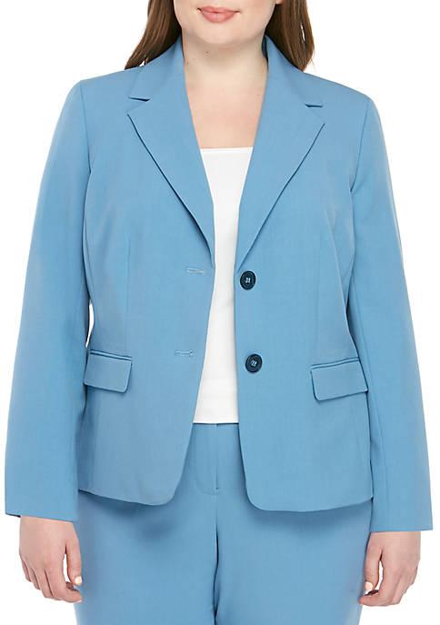 Plus Size 2 Button Notch Collar Jacket