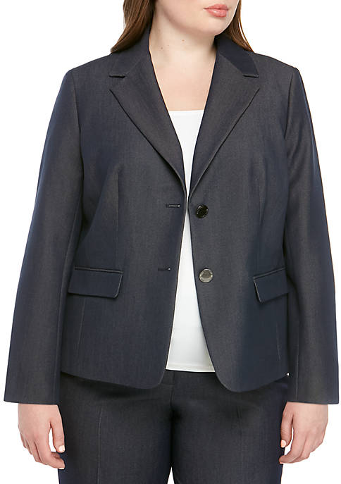Plus Size 2 Button Denim Jacket