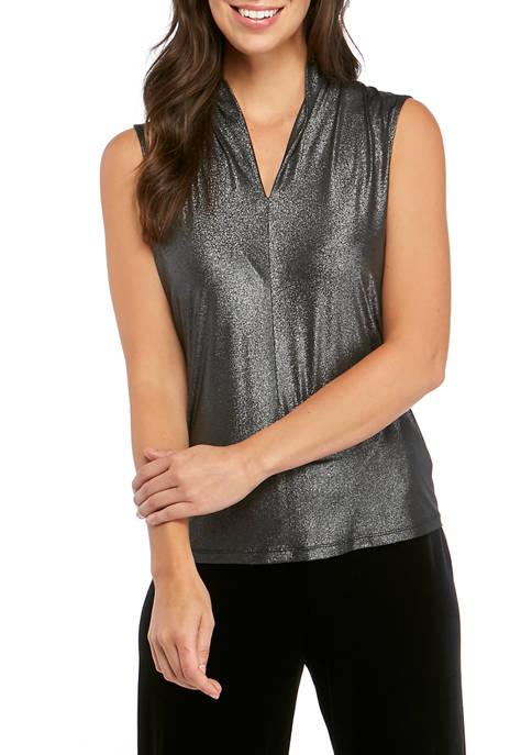 Womens Sleeveless Inverted Metallic V Neck Blouse