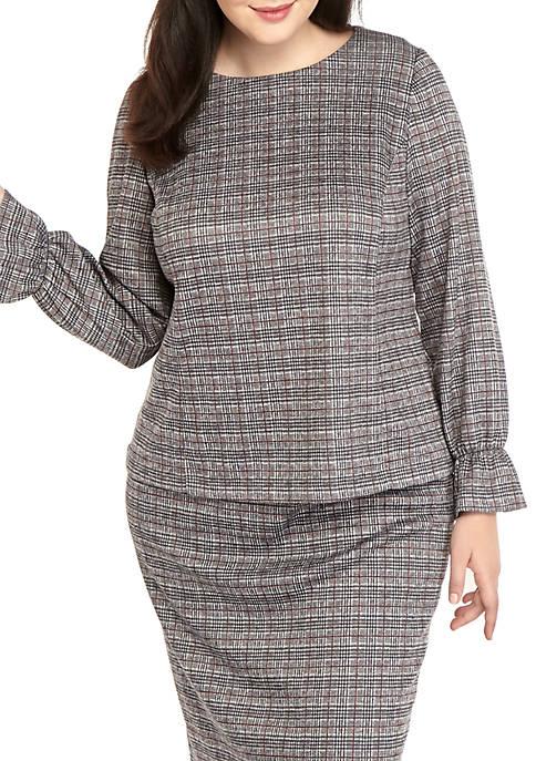 Nine West Plus Size Long Sleeve Plaid Knit