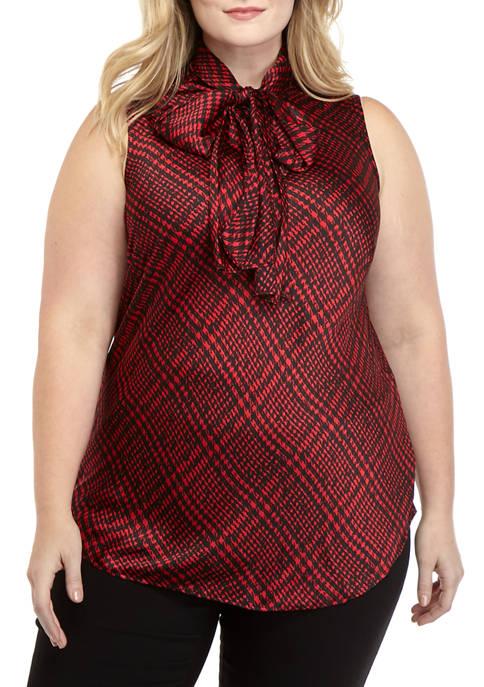 Nine West Plus Size Plaid Print Tie Neck