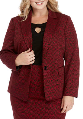 Plus Size 1 Button Herringbone Jacquard Jacket