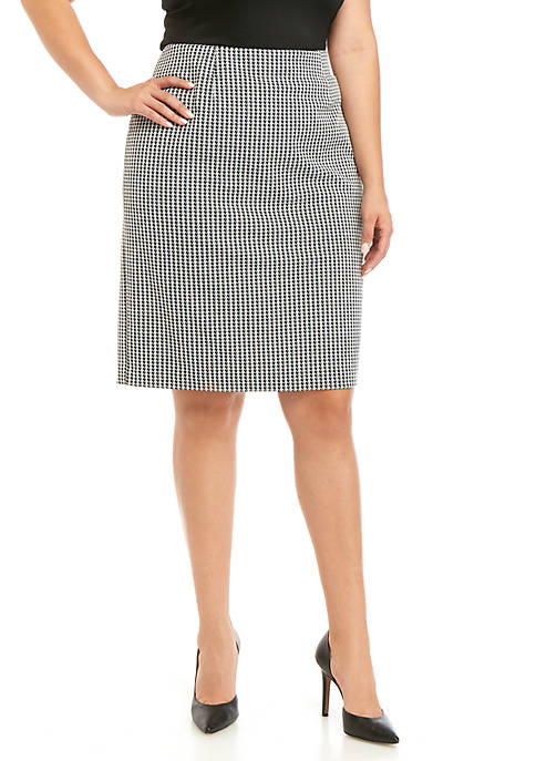 Nine West Plus Size Pull On Houndstooth Skirt