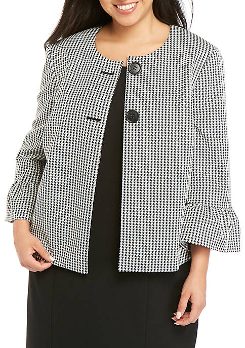 Plus Size Houndstooth Bell Sleeve Jacket