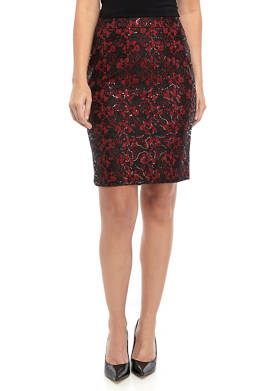 Womens Lace Sequin Skirt