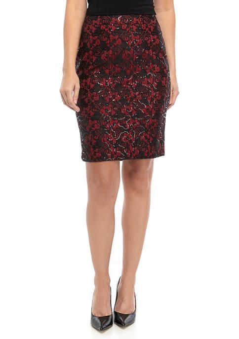 Nine West Womens Lace Sequin Skirt