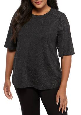 Plus Size Short Sleeve Metallic Knit Top