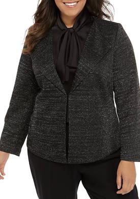 Plus Size Metallic Kit Wing Collar Jacket