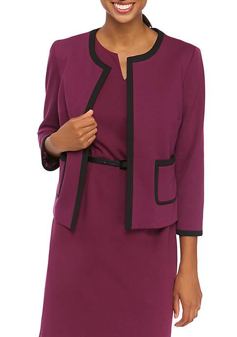 Womens Ponte Jacket with Ponte Trim