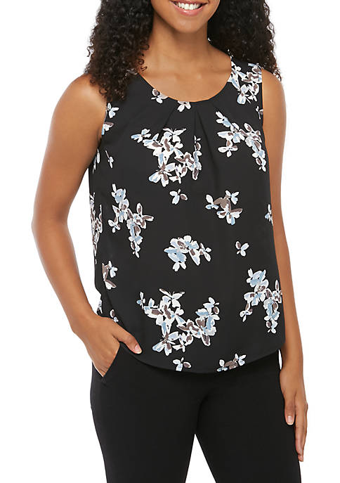 Sleeveless Floral Round Neck Blouse