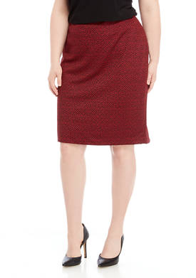 Plus Size Herringbone Jacquard Slim Skirt