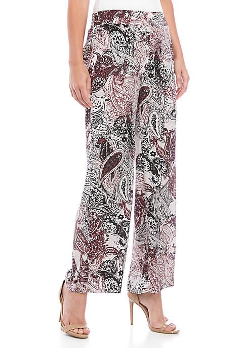 Nine West Womens Wide Leg Printed Pants