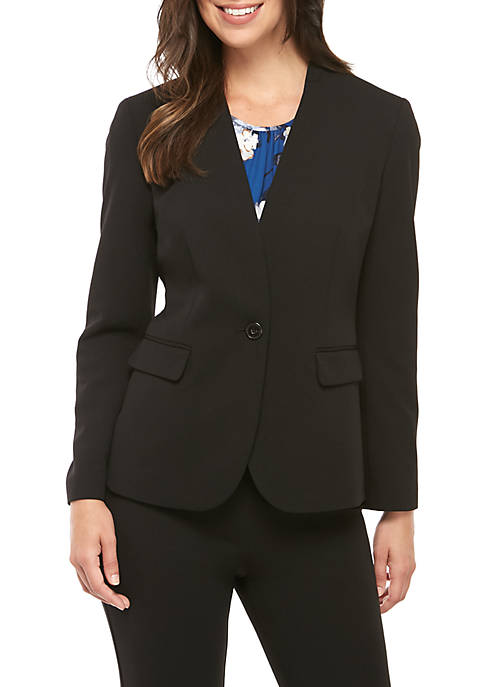 Solid Crepe One Button Jacket