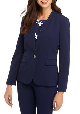 Womens 1 Button Stand Collar Jacket