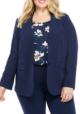 Plus Size One Button Stand Collar Jacket