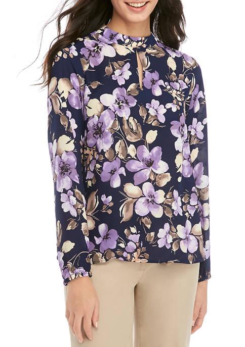Nine West Womens Long Sleeve Floral Print Blouse