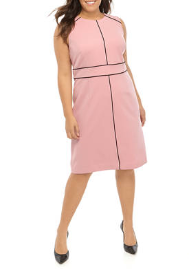 Plus Size Sleeveless Jewel Neck Crepe de Chine Sheath Dress